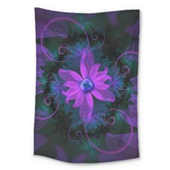 Beautiful Ultraviolet Lilac Orchid Fractal Flowers Large Tapestry by beautifulfractals