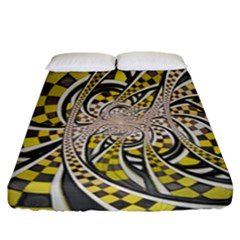 Liquid Taxi Cab, A Yellow Checkered Retro Fractal Fitted Sheet (california King Size)