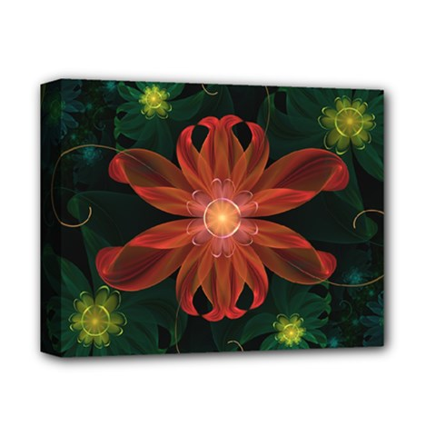 Beautiful Red Passion Flower In A Fractal Jungle Deluxe Canvas 14  X 11  by beautifulfractals