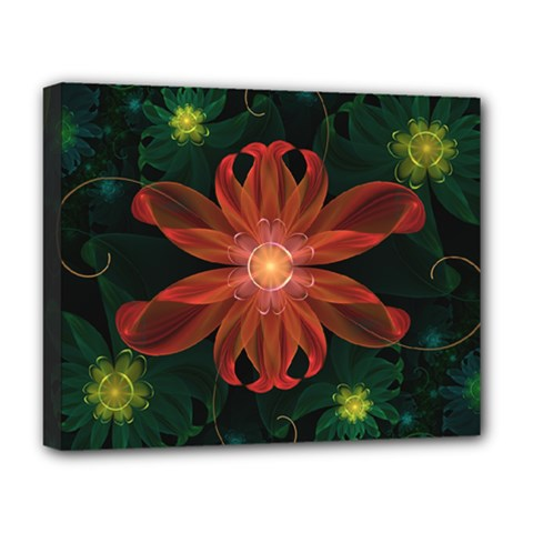 Beautiful Red Passion Flower In A Fractal Jungle Deluxe Canvas 20  X 16   by beautifulfractals