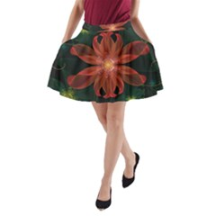 Beautiful Red Passion Flower In A Fractal Jungle A Line Pocket Skirt by jayaprime