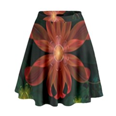 Beautiful Red Passion Flower In A Fractal Jungle High Waist Skirt by jayaprime