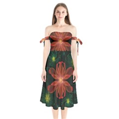 Beautiful Red Passion Flower In A Fractal Jungle Shoulder Tie Bardot Midi Dress by beautifulfractals