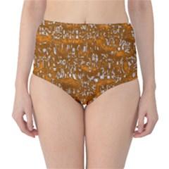 Glossy Abstract Orange High-Waist Bikini Bottoms