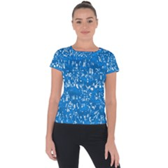 Glossy Abstract Teal Short Sleeve Sports Top