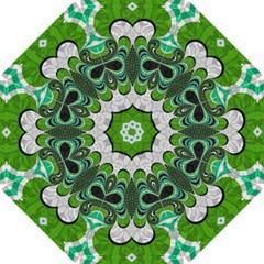 Fractal Art Green Pattern Design Straight Umbrellas by BangZart