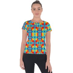Pop Art Abstract Design Pattern Short Sleeve Sports Top