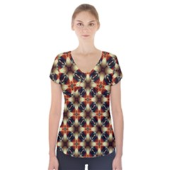 Kaleidoscope Image Background Short Sleeve Front Detail Top