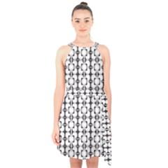 Pattern Background Texture Black Halter Collar Waist Tie Chiffon Dress