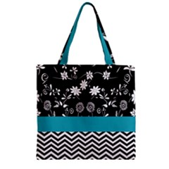 Flowers Turquoise Pattern Floral Zipper Grocery Tote Bag