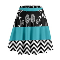 Flowers Turquoise Pattern Floral High Waist Skirt by BangZart