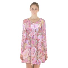 Lovely Floral 36a Long Sleeve Velvet V-neck Dress