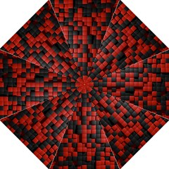 Black Red Tiles Checkerboard Golf Umbrellas by BangZart
