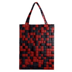 Black Red Tiles Checkerboard Classic Tote Bag by BangZart