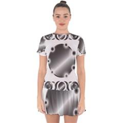 Metal Circle Background Ring Drop Hem Mini Chiffon Dress
