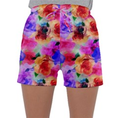 Floral Pattern Background Seamless Sleepwear Shorts