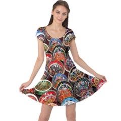 Colorful Oriental Bowls On Local Market In Turkey Cap Sleeve Dresses by BangZart