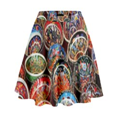 Colorful Oriental Bowls On Local Market In Turkey High Waist Skirt by BangZart