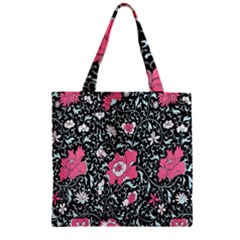 Oriental Style Floral Pattern Background Wallpaper Zipper Grocery Tote Bag