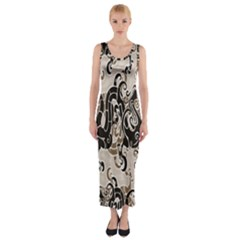 Dragon Pattern Background Fitted Maxi Dress by BangZart