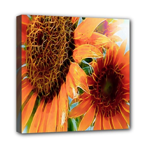 Sunflower Art  Artistic Effect Background Mini Canvas 8  X 8  by BangZart
