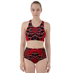 Fractal Wallpaper With Red Tangled Wires Bikini Swimsuit Spa Swimsuit