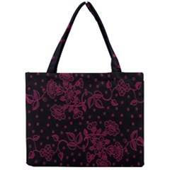 Pink Floral Pattern Background Wallpaper Mini Tote Bag by BangZart