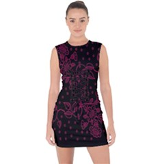 Pink Floral Pattern Background Wallpaper Lace Up Front Bodycon Dress