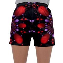 Fractal Red Violet Symmetric Spheres On Black Sleepwear Shorts