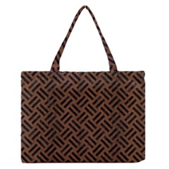 Woven2 Black Marble & Brown Wood (r) Medium Zipper Tote Bag by trendistuff