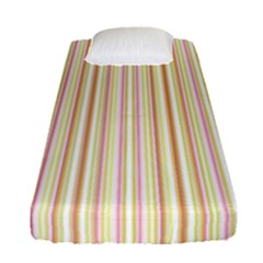 Stripes Pink And Green  Line Pattern Fitted Sheet (single Size) by paulaoliveiradesign