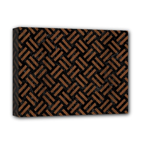 Woven2 Black Marble & Brown Wood Deluxe Canvas 16  X 12  (stretched)  by trendistuff