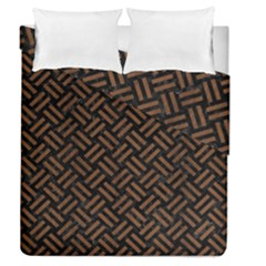 Woven2 Black Marble & Brown Wood Duvet Cover Double Side (queen Size) by trendistuff