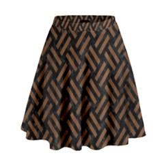 Woven2 Black Marble & Brown Wood High Waist Skirt by trendistuff