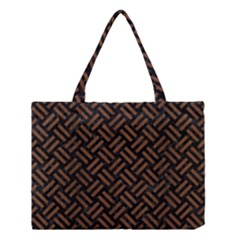 Woven2 Black Marble & Brown Wood Medium Tote Bag by trendistuff