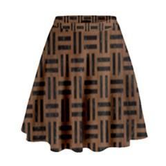 Woven1 Black Marble & Brown Wood (r) High Waist Skirt by trendistuff