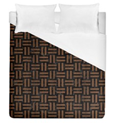 Woven1 Black Marble & Brown Wood Duvet Cover (queen Size) by trendistuff