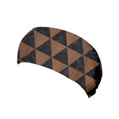 Triangle3 Black Marble & Brown Wood Yoga Headband by trendistuff