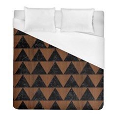 Triangle2 Black Marble & Brown Wood Duvet Cover (full/ Double Size) by trendistuff