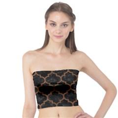 Tile1 Black Marble & Brown Wood Tube Top by trendistuff