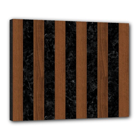 Stripes1 Black Marble & Brown Wood Canvas 20  X 16  (stretched) by trendistuff