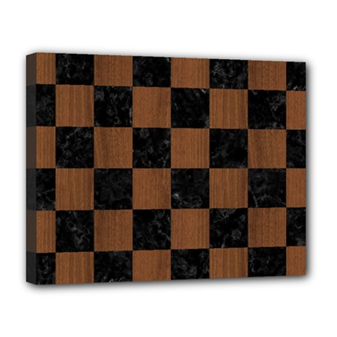 Square1 Black Marble & Brown Wood Canvas 14  X 11  (stretched) by trendistuff