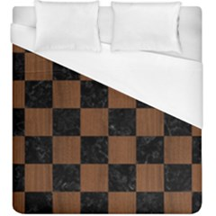Square1 Black Marble & Brown Wood Duvet Cover (king Size) by trendistuff