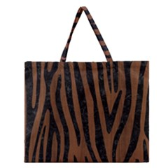 Skin4 Black Marble & Brown Wood Zipper Large Tote Bag by trendistuff
