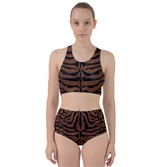 Skin2 Black Marble & Brown Wood (r) Bikini Swimsuit Spa Swimsuit