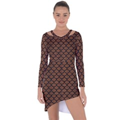 Scales1 Black Marble & Brown Wood (r) Asymmetric Cut Out Shift Dress