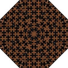Puzzle1 Black Marble & Brown Wood Hook Handle Umbrella (medium) by trendistuff