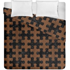 Puzzle1 Black Marble & Brown Wood Duvet Cover Double Side (king Size) by trendistuff