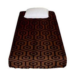 Hexagon1 Black Marble & Brown Wood (r) Fitted Sheet (single Size) by trendistuff
