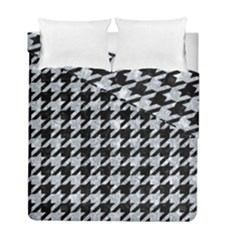 Houndstooth1 Black Marble & Brown Wood Duvet Cover Double Side (full/ Double Size) by trendistuff